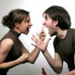 A picture of a couple having an argument
